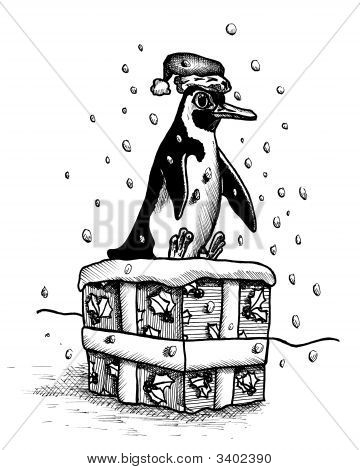 Pen and ink drawing of a penguin sitting on a large Christmas present in the snow poster