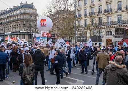 Paris, France - December 17 2019 : Protest Of The Unions Against The Retirement Pension Reform Of Th