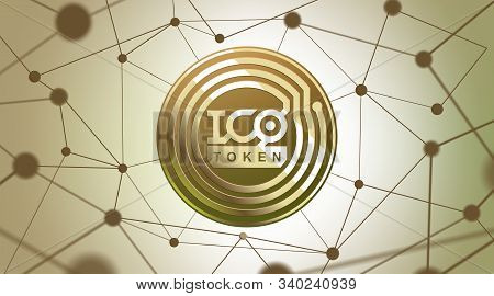 Ico - Initial Coin Offering. Ico Token Concept. Gold Token On 3d Virtual Graphical User Interface. G