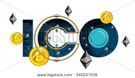 Ico Blockchain Technology, Ico Vector Illustration Isolated On White. Initial Coin Offering. Coin Of