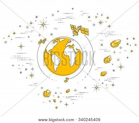 Planet Earth In Space Surrounded By Artificial Satellites, Stars And Other Elements. Global Communic