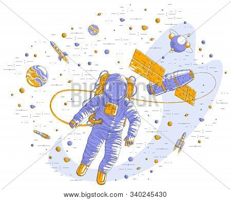 Spaceman Flying In Open Space Connected To Space Station, Astronaut Man Or Woman Floating In Cosmos