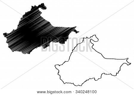 Brcko District (bosnia And Herzegovina, Bih, Bosnia-herzegovina) Map Vector Illustration, Scribble S