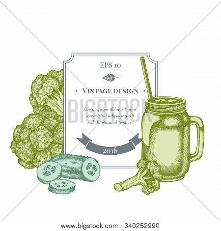 Badge Design With Pastel Broccoli, Smothie Jars, Cucumber Stock Illustration