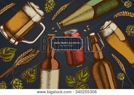 Design On Dark Background With Rye, Hop, Mug Of Beer, Bottles Of Beer, Aluminum Can Stock Illustrati