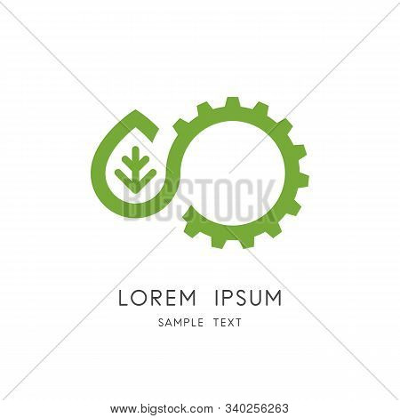 Green Power Logo - Leaf And Gear Wheel Or Pinion Symbol. Alternative Energy Source, Industry And Nat