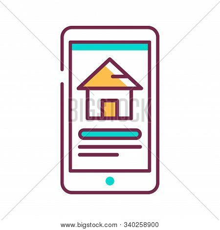Reservation Of House On Smartphone Color Line Icon. Pictogram For Web Page, Mobile App, Promo. Ui Ux
