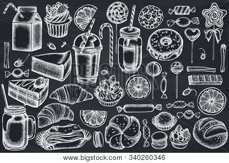 Vector Set Of Hand Drawn Chalk Cinnamon, Macaron, Lollipop, Bar, Candies, Oranges, Buns And Bread, C