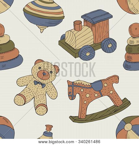 Retro Toys Seamless Pattern With Train, Horse, Ball, Bear, Peg, Pyramid. Vector Illustration. Wrappi