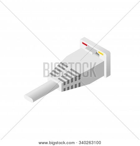Isometric Ethernet Port And Lan Cable Isolated On White Background. Network Socket Icon, Wireless Wi