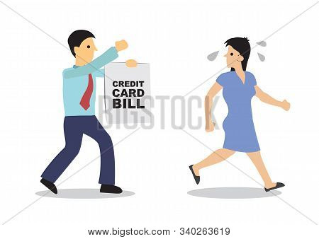 Worried Woman Running Away From His Debt Collector. Business Concept Of Debtor, Financial Problem Or