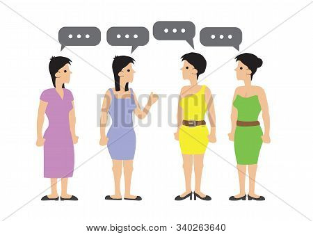 Happy Group Of Women Talking, Gossiping And Having Fun. Concept Of Casual Communication. Flat Isolat