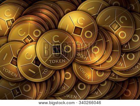Ico Token Background. Ico - Initial Coin Offering. Golden Ico Token. Lucky Feng Shui Coin.