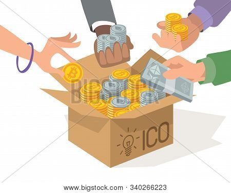 Ico Vector Illustration. Blockchain Ico. Initial Coin Offering. Ico Tokens. It Startup Crowdfunding.