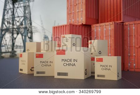 Many Chinese Cargo Containers And Cardboard Boxes. Importing Goods From China Concept. 3d Rendered I