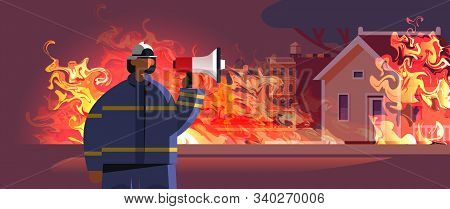 Brave Fireman Holding Loudspeaker Firefighter In Uniform And Helmet Firefighting Emergency Service E