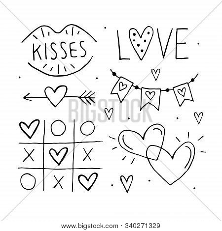 St.valentine`s Day Set Of Elements, Clipart, Stickers, Coloring Page. Love Lettering, Tic Tac Toe, H