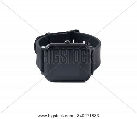 Front View Of Black Smartwatch With Touch Screen Display. Fitness Tracker Isolated On White Backgrou
