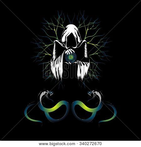 Vector Image Of A Sorcerer With Snakes. The Sorcerer Holds A Magic Ball In His Hands. Image On A Bac
