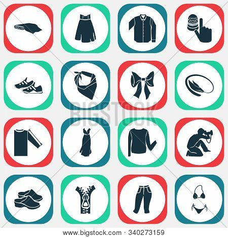 Fashionable Icons Set With Bangle, Capris, Photograph And Other Sneaker Elements. Isolated Illustrat