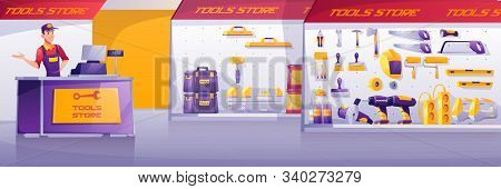 Tools Store, Hardware Construction Shop Interior With Salesman Stand On Counter Desk Presenting Show