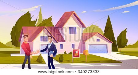 House Sale Deal. Realtor Shaking Hand With Home Owner Standing At Front Yard Of Residential Building