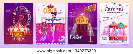 Circus Show Placards Set. Amusement Park Banners, Invitation On Carnival With Ferris Wheel, Candy Co