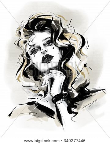 Hand Drawn Beautiful Young Curly Hair Woman. Stylish Girl In Gothic Style. Fashion Woman Look. Sketc