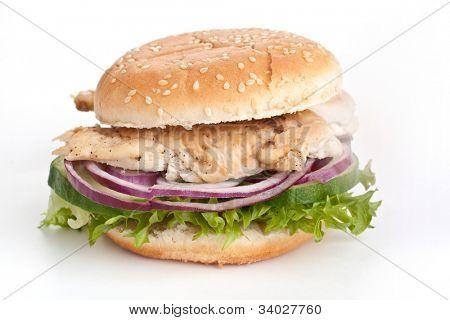 chicken, onions, cucumbers, lettuce sandwich