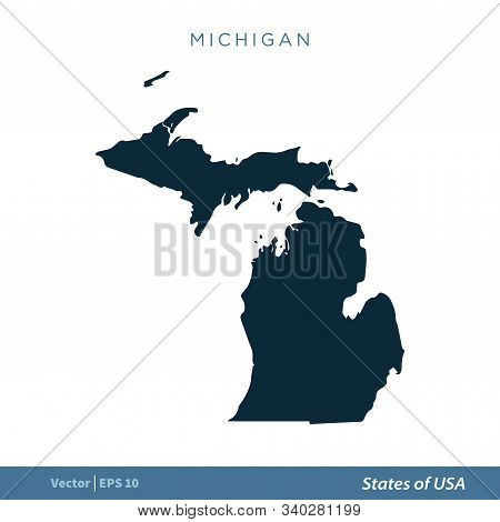 Michigan - States Of Us Map Icon Vector Template Illustration Design. Vector Eps 10.