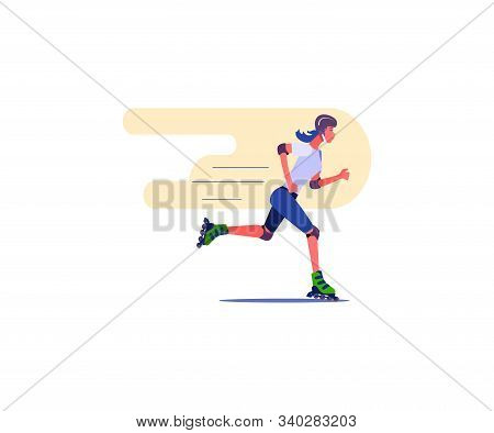 Beautiful Girl Riding On Roller Skates. Roller Skating Flat Vector Illustration. Leisure Concept For