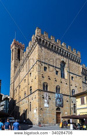 Florence, Italy - June 5, 2019 : The Bargello, also known as the Palazzo del Bargello, Museo Nazionale del Bargello, or Palazzo del Popolo (Palace of the People), is a former barracks and prison, now an art museum, in Florence, Italy.