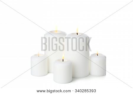 Group Of Different Candles Isolated On White Background
