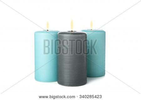 Three Aroma Candles Isolated On White Background