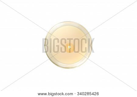 Candle In Glass Jar Isolated On White Background, Top View