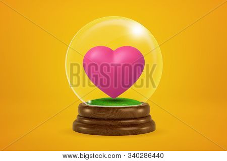 3d Rendering Of Pink Heart Inside Glass Ball Globe On Amber Background.