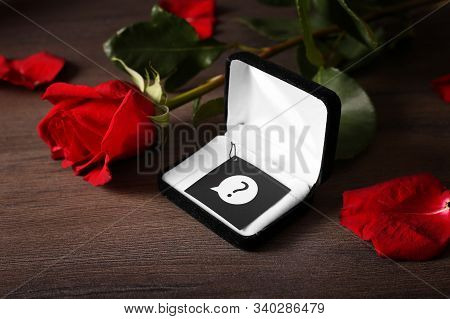 Waiting For Proposal To Get Married. Will You Marry Me. Gift And Flowers As A Manifestation Of Love