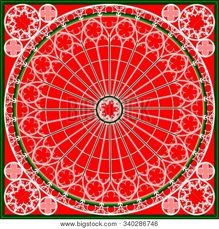 Red And Green Abstract Lace Background, Square Geometric Pattern With Ornate Frame. Bandanna Shawl F