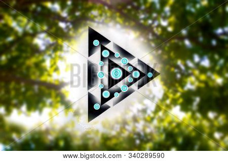 Abstract Triangles Geometry Inside Glowing Balls Of Prana In A Forest And The Sun