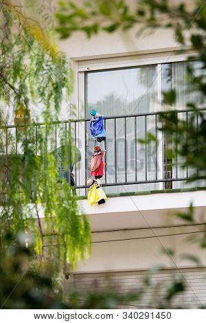 Three Kings (los Reyes Magos) On The Balcony In Spain, Christmas Decoration