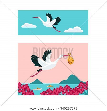 White Stork Banner Set. Bird Flying Among Clouds In The Sky. Stork Carrying A Bundle.