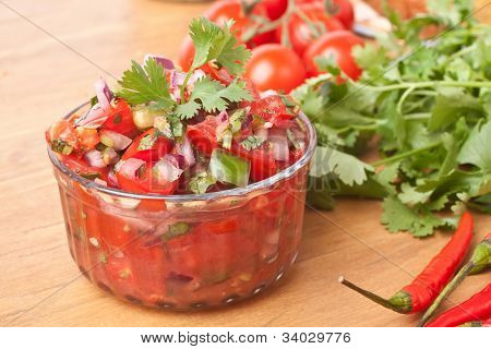 Fresh Hot Raw Salsa with Tomatoes, Onions, Chili and Cilantro