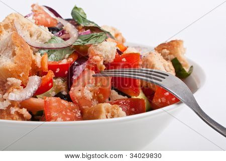 bowl of Panzanella bread salad on a white background poster
