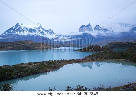 View Before Dawn Of The Torres Del Paine Mountains, Torres Del Paine National Park, Chile