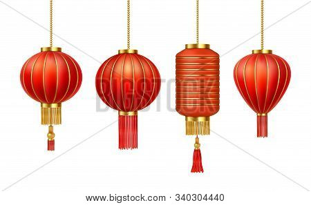 Chinese Red Paper Lanterns, China New Year Decorations, Vector Realistic Icons. China Traditional Re