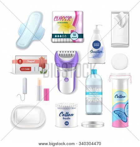 Female Hygiene Products, Woman Health Care Personal Daily Use Vector Realistic Acessories. Female Ta