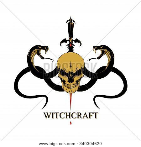 Vector Image Of A Skull With Snakes And A Dagger. Image On A Black Background.