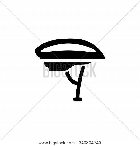 Bike Helmet And Protective Gear Glyph Icon Isolated On White. Protection Hat Of Bicyclist. Sport Cap