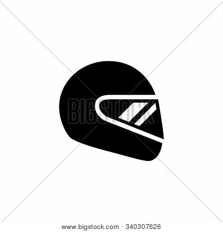Motorcycle Helmet And Protective Gear Glyph Icon Isolated On White. Biker Hat. Object For Protection