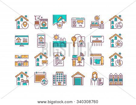 Rent Home And Real Estate Color Line Icons Set. Buildings And Property. Purchasing, Sale And Leasing